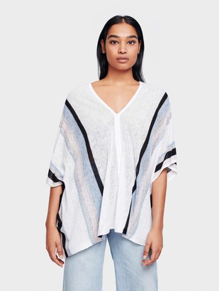 White + Warren Sample Sale The Linen Striped Poncho