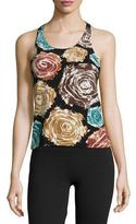 Norma Kamali Racer Floral-Print Active Combo Top