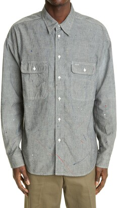 Visvim Lumber Paint Splatter Silk Chambray Button-Up Shirt