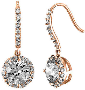 Genevive 14K Rose Gold Over Silver Cz Earrings