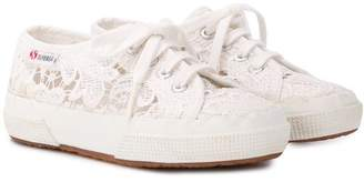 Superga round toe lace detail sneakers