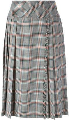 Céline Pre Owned Pleated Check Skirt