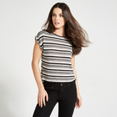 Apricot Monochrome Stripe Pattern T-Shirt