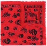 Alexander McQueen skul and badge scarf - men - Silk/Wool - One Size