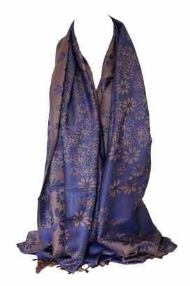 Bullahshah Daisy Floral Print Two Sided Reversible Soft Pashmina Feel Wrap Shawl Head Scarf