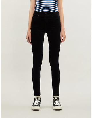 AG Jeans Farrah Skinny skinny high-rise velvet jeans