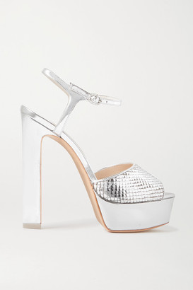 Sophia Webster Natalia Metallic Snake-effect Leather Platform Sandals - Silver