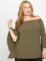 ELOQUII Plus Size Flounce Sleeve Off the Shoulder Top