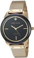 Anne Klein Women's AK/3258BKGB Diamond-Accented Mesh Bracelet Watch with Ceramic Bezel