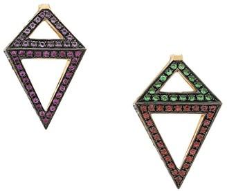 Noor Fares 18kt gold Octahedron Dormeuse diamond earrings