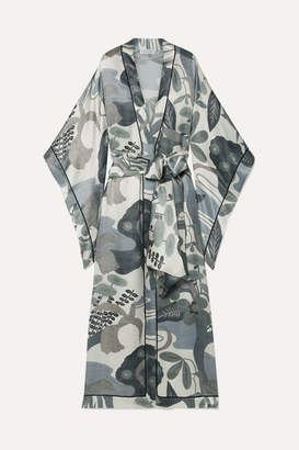 Carine Gilson Printed Silk-satin Kimono - Light gray
