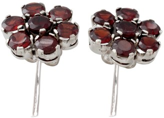 Novica Garnet Button Earrings, 'Romantic Blossom'