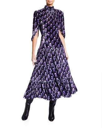 Chloé Floral Print Velvet Scarf-Sleeve Dress