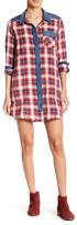 Angie Denim & Plaid Shirtdress