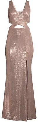 BCBGMAXAZRIA Metallic Cutout Gown