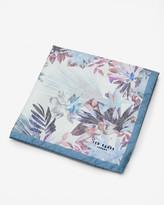Ted Baker Floral Silk Pocket Square White