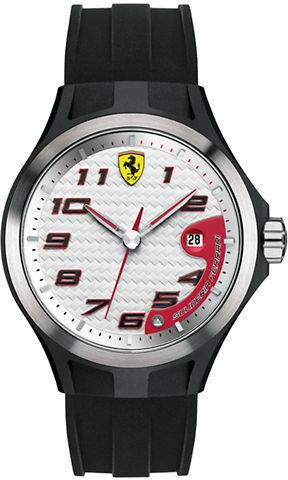 Ferrari Men's Lap Time Black Watch with White Dial