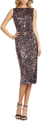 Mac Duggal Back Ruffle Sequin Sheath Dress