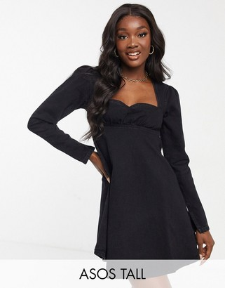 Asos Tall ASOS DESIGN Tall babydoll denim dress in black