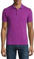 Etro Tonal Paisley-Print Short-Sleeve Polo Shirt, Magenta