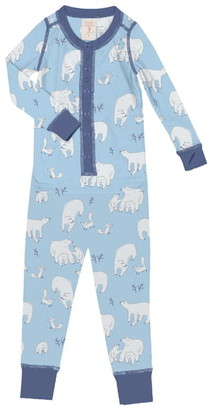 Munki Munki Polar Bears Fitted One-Piece Pajamas