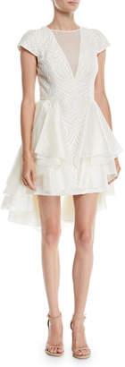 Halston Cap-Sleeve Lace Dress w/ Skirt Overlay