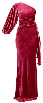 Maria Lucia Hohan Amaris One-shoulder Velvet Dress - Dark Pink