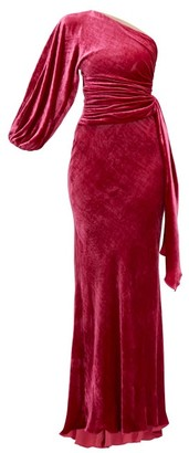 Maria Lucia Hohan Amaris One-shoulder Velvet Dress - Womens - Dark Pink