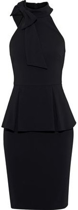Badgley Mischka Bow-embellished Stretch-crepe Peplum Dress