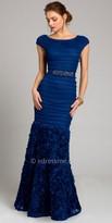 Camille La Vie Pleated Rosette Trumpet Evening Dress