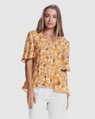 Privilege Women's Yellow Tops - Tierra Frill Tee - Size One Size, 8 at The Iconic