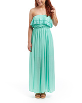 Mint Crochet-Ruffle Strapless Maxi Dress