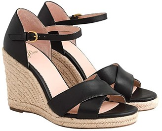 J.Crew Leather Espadrille Wedge Sandal (Black) Women's Shoes