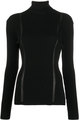 Tom Ford Sheer-Panel Roll-Neck Knitted Top