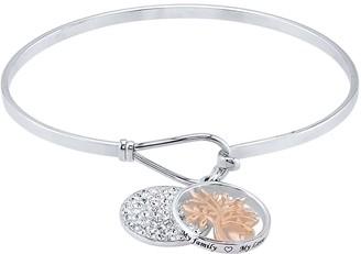 Brilliance+ Brilliance Two-Tone Family Tree Charm Bangle Bracelet with Swarovski Crystals