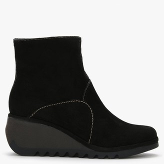Fly London Nest Black Suede Wedge Ankle Boots