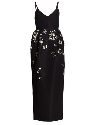 Carolina Herrera Spaghetti Strap Embellished Silk Cocktail Dress