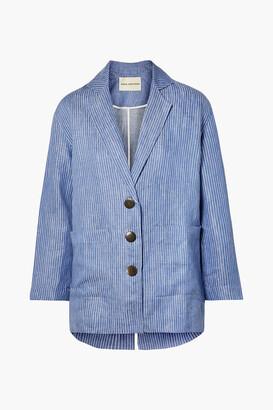 Mara Hoffman Fatima Embroidered Striped Organic Linen-twill Jacket