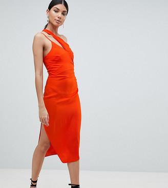 Asos Tall Tall Hammered Satin Strappy Pencil Midi Dress-Orange
