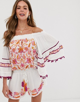 Raga First Bloom embroidered off shoulder playsuit