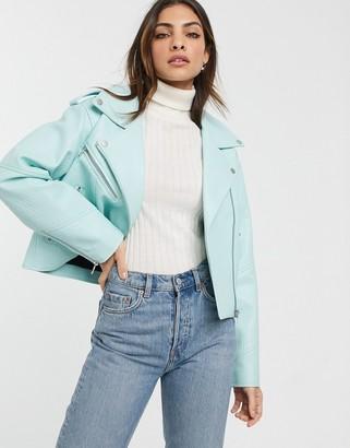 Urban Code Urbancode faux leather biker jacket in bright mint