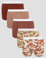 Asos Trunks With Camo Print 5 Pack