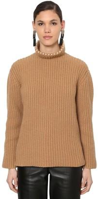Loewe Embellished Cashmere Rib Knit Sweater