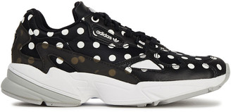 adidas Falcon Polka-dot Mesh And Leather Sneakers