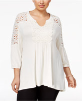 Style&Co. Style & Co Plus Size Eyelet-Trim Peasant Top, Only at Macy's