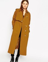 Asos Trench in Midi Length with Storm Flap Detail