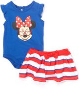 Children's Apparel Network Blue Minnie Mouse Bodysuit & Red Skirt - Infant