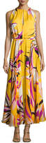 Emilio Pucci Fiore Maya Silk Halter Maxi Dress, Yellow Pattern