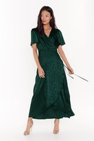 Womens Don't Stop Be-Leafing Satin Wrap Dress - green - 8