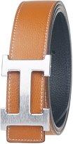 Moraner Golden fame New Designer H Buckle Belt, High Quality Luxury Men's Leather Waist Belts Silver buckle/Brown 36in